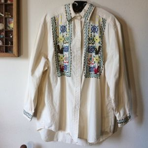 Vintage Tops - NAQUI Embroidery Colorful Birds Cotton Button Up